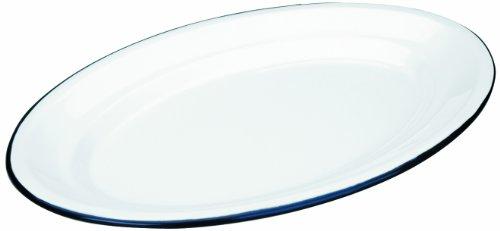 Ibili 903940 Plat Ovale en acier émaillé vitrifié Blanche 40x27 cm