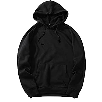 Men s Long Sleeve Hoodie Winter Casual Solid Loose Blouse Fit Fleece Top Black