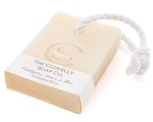 Clovelly Soap Co. Handgemachte Eukalyptus, Minze & Zitrone Naturseife mit Schnur für alle Hauttypen 100g