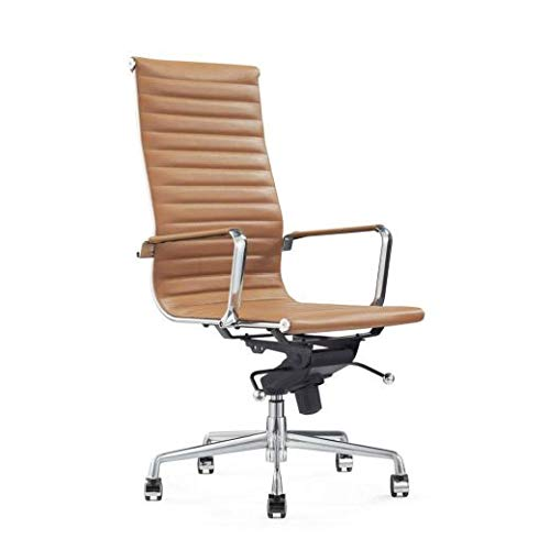 Vivol Madrid Design Schreibtisch Stuhl Cognac - Bürostuhl Ergonomisch - Echt-Leder - Bürostuhl 120 kg - Drehstuhl mit Rollen und Armlehnen