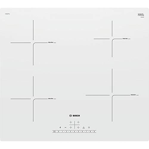 Bosch Serie 4 PUE612FF1J hobs Blanco Integrado Con - Placa (Blanco, Integrado, Con placa de inducción, Vidrio y cerámica, 1400 W, 14,5 cm)