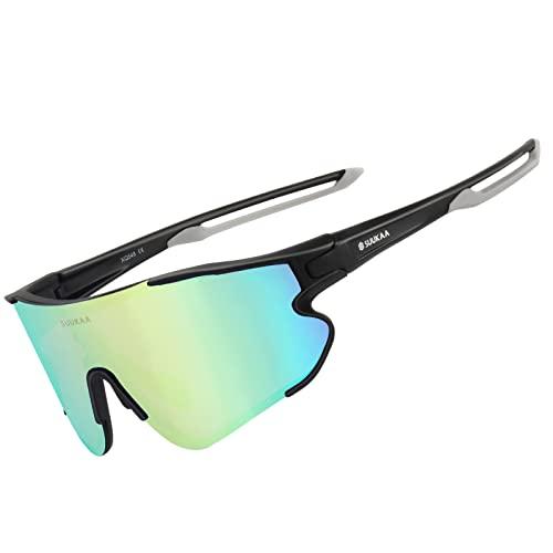 SUUKAA Radsport Brillen Polarized Sonnenbrille TR90 Superlight Frame mit 3 Wechselgläsern UV400-Schutz für Herren & Damen,zum Radfahren Skifahren Autofahren Fischen Laufen Wandern Sport im Freien