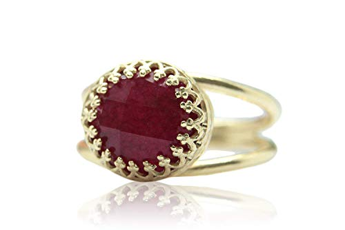 4CT Ruby Ring by Anemone Jewelry - Adorable Rose Gold Ring - AA Ruby 10mm Ring with All Sizes and Free Fancy Ring Gift Box - Handmade