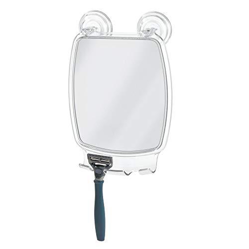 InterDesign ミラー 鏡 シャワー 吸盤 カミソリホルダー付き Power Lock 長方形 クリア 52150EJ