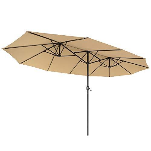 SONGMICS Doppelsonnenschirm 460 x 270 cm, extra großer Sonnenschirm, Gartenschirm, UV-Schutz bis UPF 50+, Terrassenschirm, mit Kurbel, Markt, Garten, Balkon, Outdoor, ohne Ständer, Taupe GPU36BR