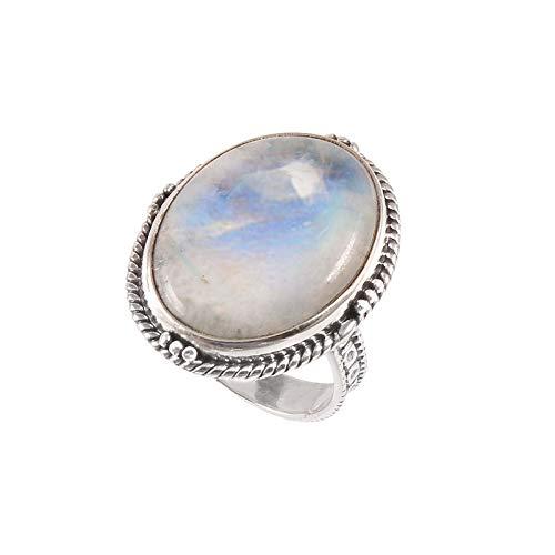 Anillo de plata de ley 925 Anillo de piedras preciosas de Arcoiris blanco natural para mujer Anillo de diseño turco para niñas Anillo de compromiso, Anillo de Arcoiris blanco Tamaño del anillo 14.5