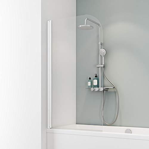 Ihr Wunschmaß millimetergenau, Schulte D165099 04 50 Duschwand Komfort, 5 mm Sicherheitsglas klar hell, alpinweiß, Duschabtrennung für Badewanne, Sondermaß