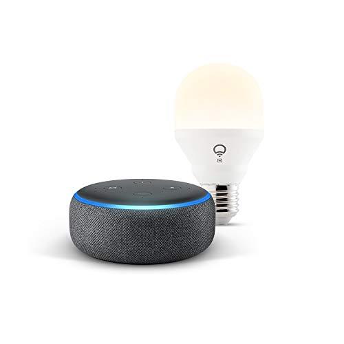 Echo Dot (3.ª generación), tela de color antracita + bombilla inteligente LIFX Blanco