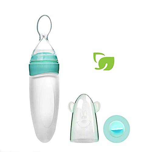 Gaodear Baby Food Feeder Squeeze Cereal Feeding Bottle, Silicone Dispensing Spoon with Dust Cover (Green, 3oz/90ml, for 4 Months+ Babies)