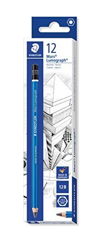 Staedtler Mars Lumograph 100 12B. Pack de 12 lápices de dibujo de mina blanda, Gris