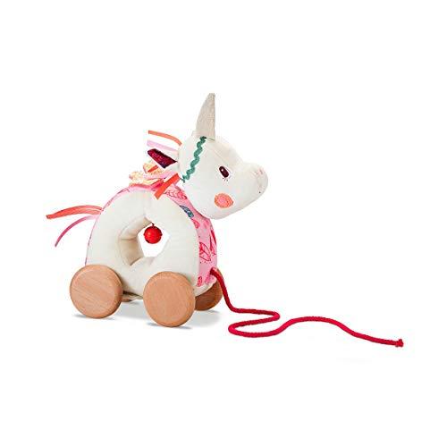 Lilliputiens 83060 Nachziehtier Nachziehspielzeug Louise, das Einhorn, Größe: 22x10x20cm, geeignet ab 12 Monaten