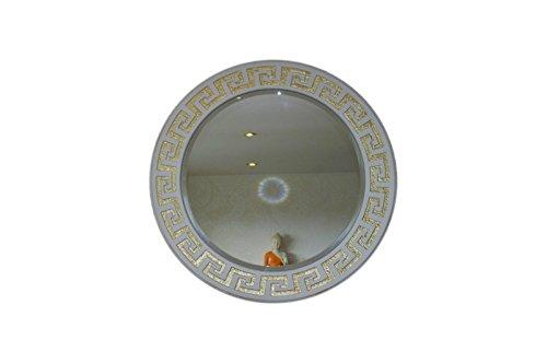 Antikes Wohndesign XXXL Runder Spiegel Weiß Wandspiegel Flurspiegel Dielenspiegel Dekospiegel Mirror Mäandermuster