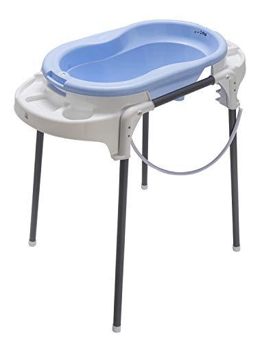 Rotho Babydesign TOP Station de Bain, Avec Baignoire pour Bébé, Support de Baignoire, Dossier de Baignoire et Tuyau de Vidange, 0-12 Mois, Sky Blue, 21042 0289 01