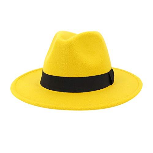 Aoogo Mode Filz Gangster Hüte für Mann und Frau, Woollen Jazz Hat Strohhut Cowboyhut breiter Krempe Vintage Style Dress Hut