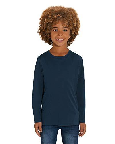 Hilltop Hochwertiges Kinder Langarmshirt /100% Bio-Baumwolle für Mädchen und Jungen. Eignet sich hervorragend zum bedrucken. (z.B.: mit Transfer-Folien/Textilfolien), Size:152/164, Color:French Navy