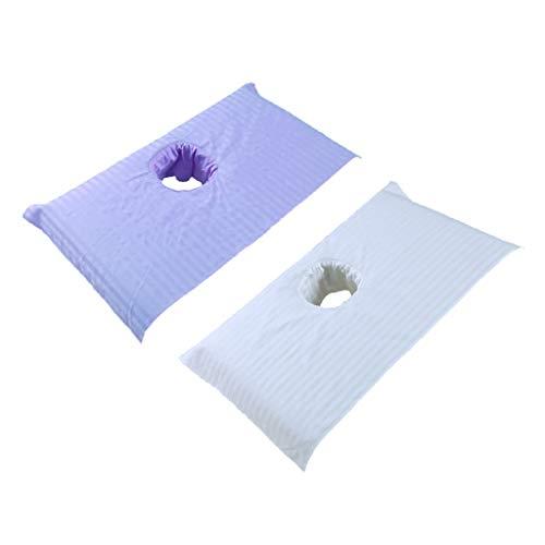 PETSOLA 2X Couverture de Table de Draps de Lit de Massage Spa en Coton Doux avec Trou de Respiration...