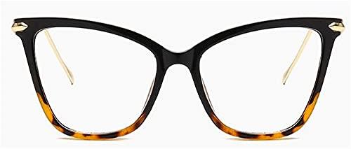 Cat Eye Gafas Marcos Mujeres Transparente Glses Marco para Hombres Big Marco Gafas Femenino Clear Lens Espectáculo (Color : 1, Size : D)
