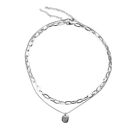 JIAQINGRNM Halskette Kinderkleidung Doppelbuchstaben Nische Titanstahl Halskette Weibliche Hip Hop Pullover Schlüsselbein Halskette muttertagsgeschenke