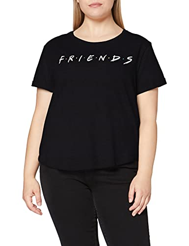 Friends Titles Camiseta, Negro, S para Mujer
