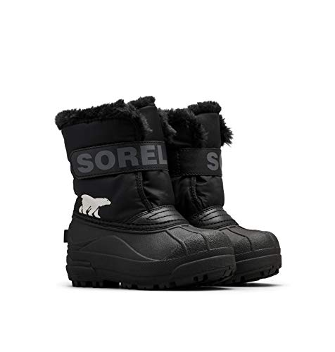Sorel - Youth Snow Commander Snow Boots for Kids, Black, Charcoal, 4 M US