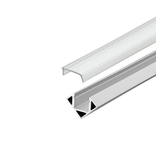 LED Profil 45 Grad Aluminium - Alu Profil Schiene Leiste Streifen - Eckprofil für LED Stripes/Streifen (Eckprofil Alu 11mm - Abdeckung klar)