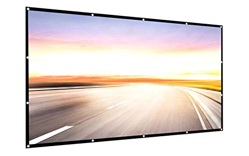 Projector Screen 150 inch 16:9 HD Foldable Anti-Crease Portable Projection Movies Screen for Home Theater Outdoor Indoor Support Double Sided Projection by P-JING