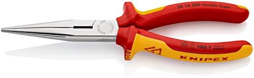 KNIPEX Flachrundzange mit Schneide (Storchschnabelzange) 1000V-isoliert (200 mm) 26 16 200