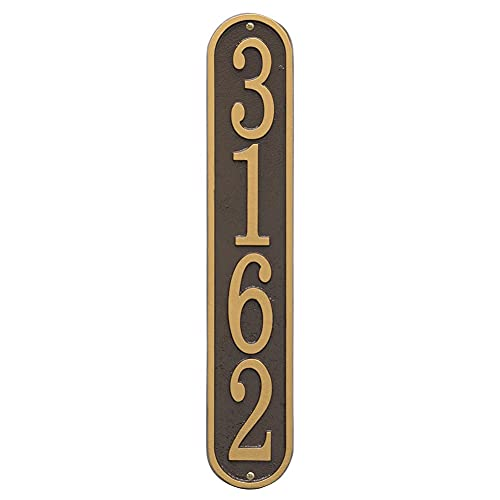 Whitehall Personalized Cast Metal Address Plaque - Custom House Number Sign - Vertical Oval (3.5  x 19 ) - Bronze with Gold Numbers
