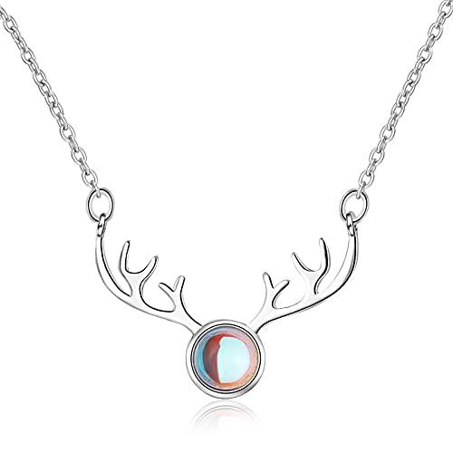 Colgante de collar ZIYUYANG, collar de asta de piedra lunar colorida dulce de plata esterlina