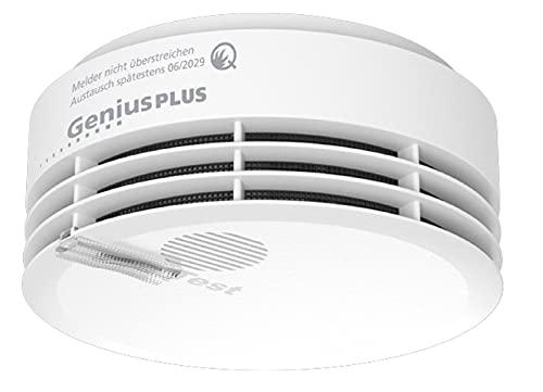 Hekatron 31-5000020-06-02 Rauchmelder Genius PLUS mit integrierter Batterie (10 Jahre Lebensdauer) – inkl. 1 x Klebepad – App-unterstützt – Rauchwarnmelder in Weiß – 1 Stück