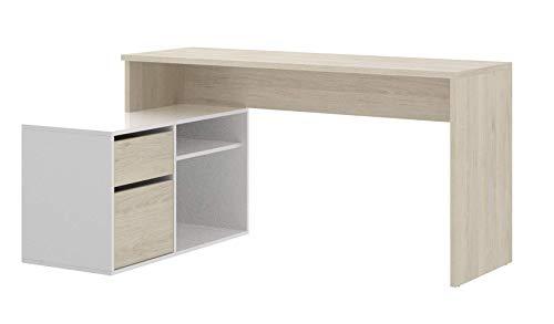 Mobelcenter - Mesa Escritorio ROX - Mesa Despacho Reversible - Mesa para Ordenador - Mesa para Oficina - Color Madera Natural y Blanco Brillo - Medidas 139 X 51-92 X 75 - (1083)