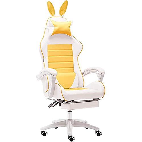Silla para juegos, silla para computadora reclinable con respaldo alto para el hogar con soporte para la cintura Silla giratoria ergonómica Silla reclinable ejecutiva de altura ajustable para Grils