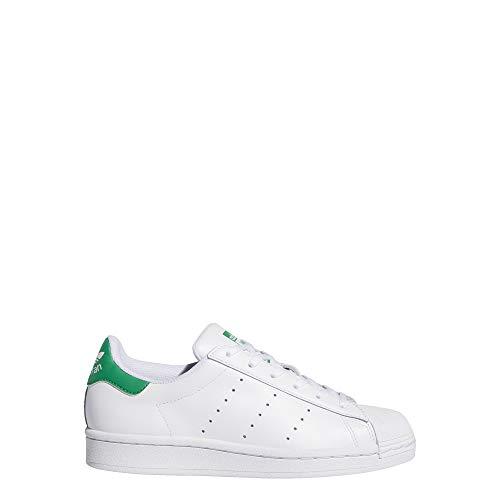 adidas Kids Superstar Stan Smith (Big Kid) Footwear White/Footwear White/Green 3.5 Big Kid M