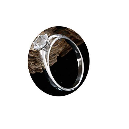 joyas plata piedras preciosas naturales forma redonda una piedra anillos de cuarzo de cristal facetado - anillo de cuarzo de cristal blanco de plata de ley 925 - nacimiento de abril aries