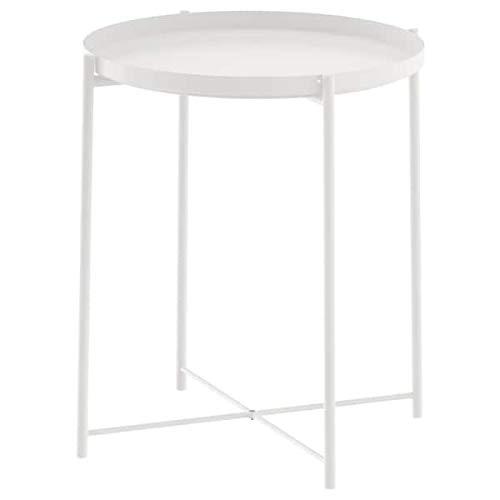 BestOnlineDeals01 GLADOM Mesa bandeja blanca, 45x53 cm, duradera y fácil de cuidar. Mesas auxiliares. Mesas y mesas. Mesas y escritorios. Mobiliario. Respetuoso con el medio ambiente.