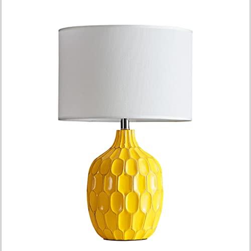 LICHUAN Lámpara de mesa lámpara de mesita de noche lámpara con pantalla de tela de lino redonda para dormitorio, sala de estar, habitación de niños, dormitorio universitario, oficina