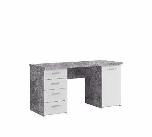 FORTE Net106 Schreibtisch mit 4 Schubkästen und 1 Tür, Holz, beton + weiß, 145 x 60 x 76.3 cm