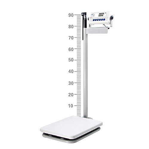 Bilancia digitale per medico professionale, Bilancia digitale a colonna di precisione, con asta di altezza, schermo a cristalli liquidi LCD, strumento ruotabile a 90 °, calcolo dell'IMC, 200 kg/195