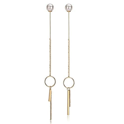 Daesar Pendientes Rectangular Perla Circular Pendientes Oro Mujer Pendientes Chapado en Platino Pendientes Mujer Oro