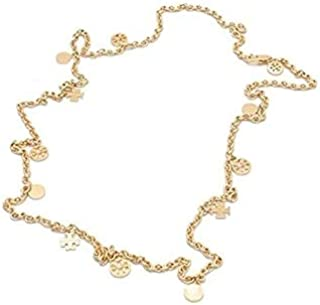 Tory Burch Logo Charm Rosary Necklace Gold