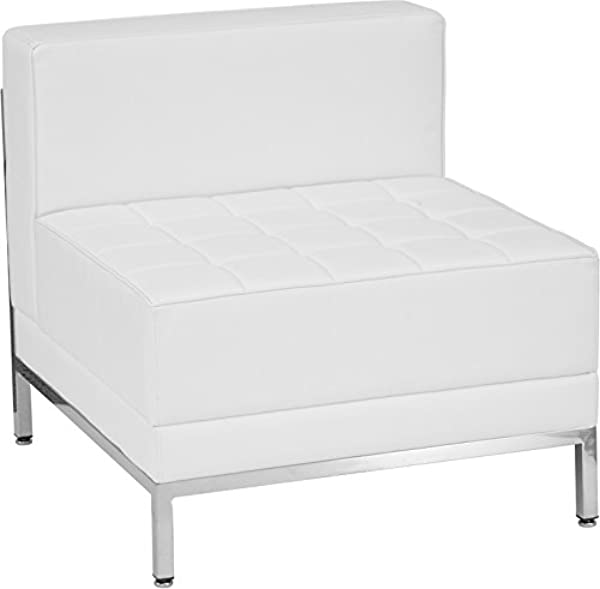 Emma Oliver Contemporary White Leather Middle Chair