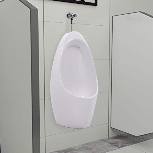vidaXL Wall Mounted Urinal with Flush System Ceramic Washout Urinal Wall-Hung Urine Stand Vertical Urinal Ceramic Bowl…