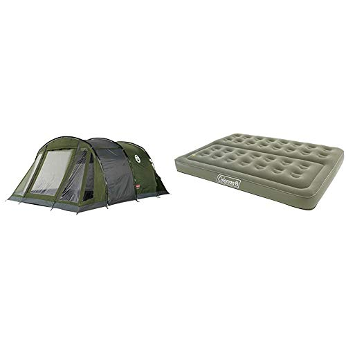 Coleman Galileo 5 Tent Tunnel & Comfort Double Flocked Surface Inflatable Camp Air Bed - Green, 188 x 137 x 22 cm