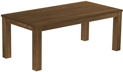 Brasilmöbel Esstisch Rio Classico 200x100 cm Nussbaum Massivholz Pinie Holz Esszimmertisch Echtholz Größe und Farbe wählbar ausziehbar vorgerichtet für Ansteckplatten