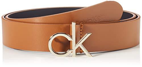 Calvin Klein Damen CK LOGO BELT 30MM Gürtel, Cognac, 75