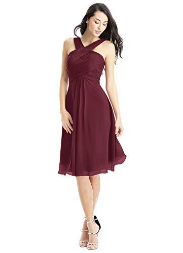 ANGELWARDROBE Women's V Neck Short Homecoming Dresses for Juniors Bridesmaid Dress Chiffon Knee Length Prom Gown Burgundy-2 (Apparel)