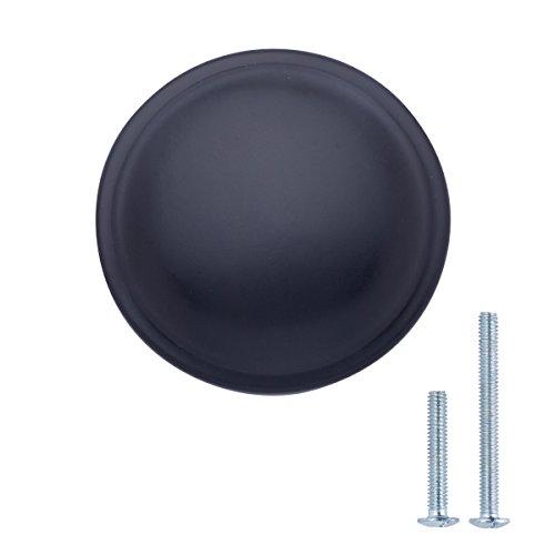 Amazon Basics - Schubladenknopf, Möbelgriff, stark gewölbt, Durchmesser: 3,02 cm, Matt-Schwarz, 10er-Pack