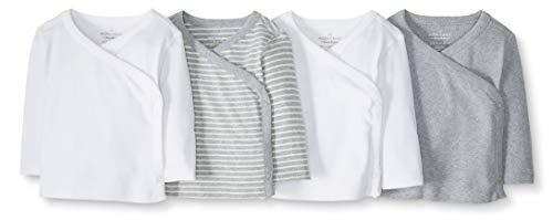 Moon and Back by Hanna Andersson Baby-Hemd, langärmelig, mit seitlichen Druckknöpfen, Bio-Baumwolle, 4 Stück, grau, 6-12 Monate (67-72 CM)