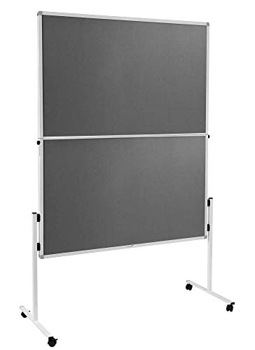 Legamaster 7-209300 Mobile Moderationswand Economy, klappbar, werkzeugloser Aufbau, filzbespannt, grau