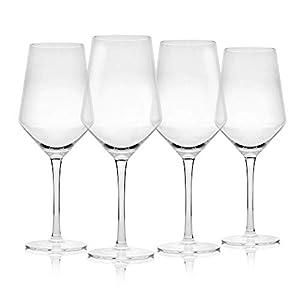 Juego de 4 copas de vino | Grandes copas de vino | Apto para lavavajillas | Copas de vino tinto tradicionales | Juego de copa de vino | M&W